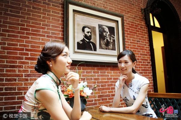 チャイナドレス美女、上海で歴史文化の保護をPR