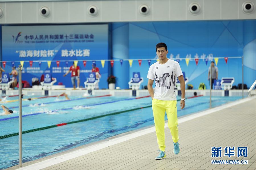 全運会の競泳競技にむけ、トレーニングに励む孫楊選手