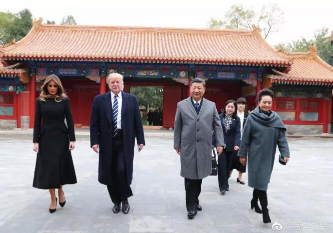トランプ大統領が北京到着、習近平国家主席夫妻が故宮で出迎え