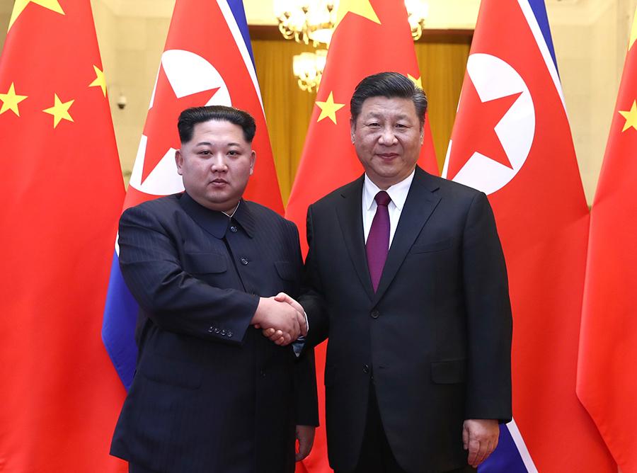 習近平総書記が金正恩委員長と北京で会談