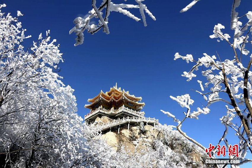 河南老君山、降雪後の清々しい雪景色